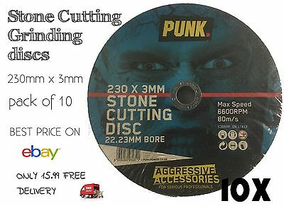 Grinding Discs Stone Cutting 230Mm X 3Mm Best Price Pack Of 10 Only 15.99