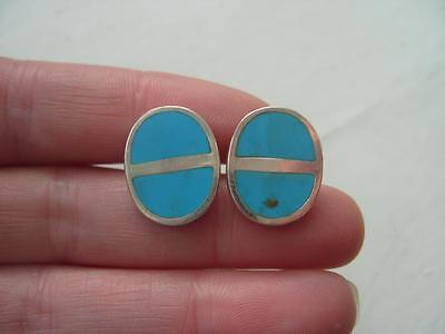 Superb Quality UK Hallmarked Sterling Silver & Turquoise Cufflinks