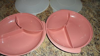 2 Vintage Tupperware Pink 3 Section Microwave Plate # 2604 Size Z with Sheer Lid