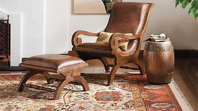 Awe Inspiring New Augusto Leather Teak Chair And Ottoman Brown Pdpeps Interior Chair Design Pdpepsorg