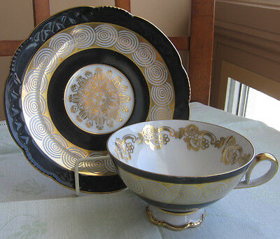 Mitterteich Bavaria Germany Art Deco Cup & Saucer Black Band Concentric Circle