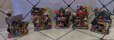 Halloween Town Village Set of 5 Pieces Ghosts Black Cats Jack O'Lanterns Ceramic