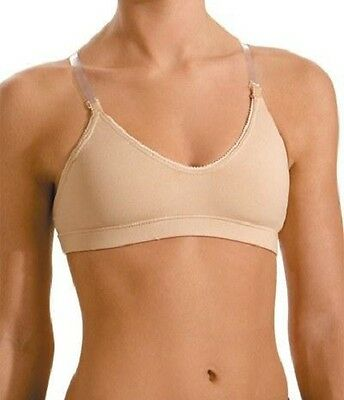 Motionwear 107 Nude Women's XL Adj. Strap Scoop Neck Bra w/ Clear Back Strap