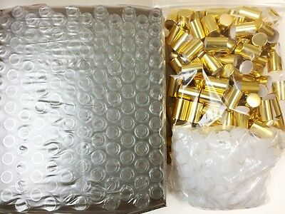10ml PLAIN 1/3 oz Clear Glass Roll on Bottles With Aluminum Gold Cap & Roller
