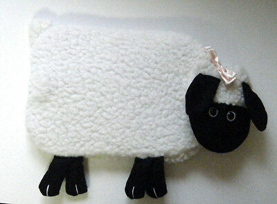 Vintage Lamb Hot Water Bottle Plush Sheep Cover W/rubber Bottle White & Black