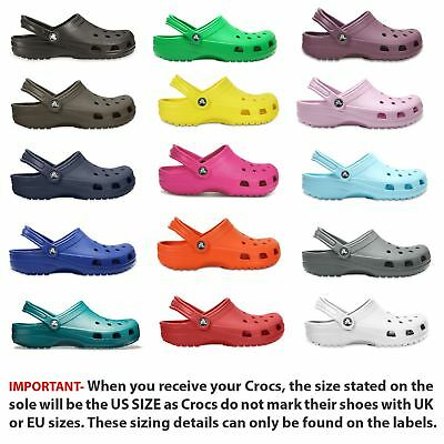Crocs Classic Clogs Shoes Sandals 10001 Roomy Fit in Wide Choice of Colours