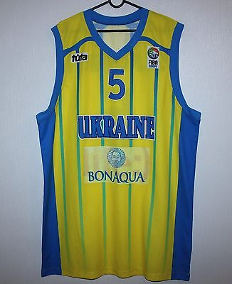 Ukraine basketball National Team match worn shirt jersey #5 Silkovskyi Size 56
