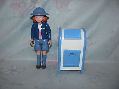 Fisher Price Loving Family Dollhouse Mailbox & Mail Carrier Lady Figure - Hat