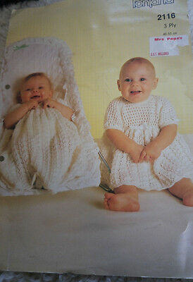 Baby Christening Gown & Frock vintage knitting pattern 3 ply yarn
