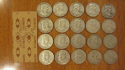 1 Roll (20) Franklin 1959 - 1961 90% Silver HALF DOLLAR Coins $10 Face Value Y90