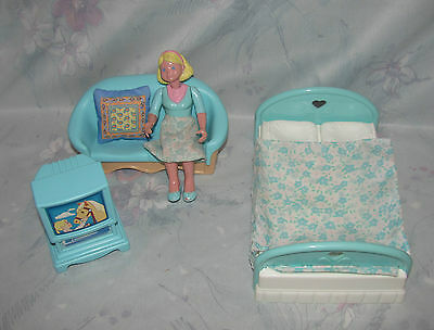 Fisher Price Loving Family Dollhouse Lot - Mom Doll, Couch, Double Bed, TV