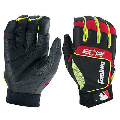 Franklin Shok-Sorb Neo Adult Baseball Batting Gloves - Black/Red/Yellow - Small