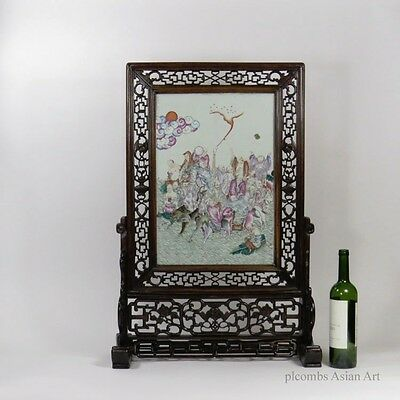 19th C. Chinese Famille Rose Porcelain Table Screen With Immortals, LARGE Size