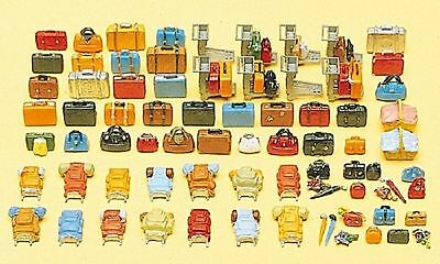 Preiser - 90 Pieces Unpainted Luggage & some Trolleys- HO Model Trains - In Kit