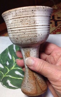 Kiddish-wine Chalice Goblet Handcrafted Stone Ware Signed Tanzer