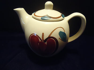 COUNTRY PRIMITIVE Purinton Tea Pot with lid apple pear