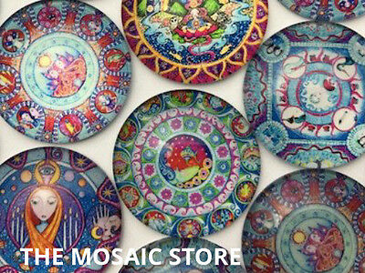 Mystical Round Glass Cabochon for Mosaic Art & Craft Supplies