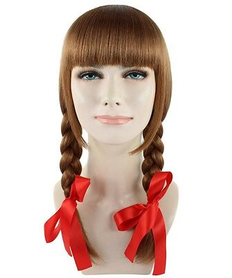 Exclusive! Annabelle Style Movie Brown Cosplay Party Costume Wig HW-1094 Adult
