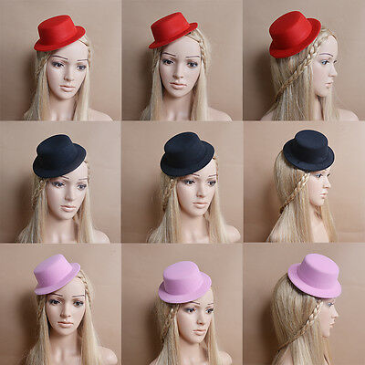 Mini Top Hat  Party Headpiece Fascinator Millinery with Clip DIY Craft T094