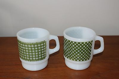 Vintage FIre King Anchor Hocking Mugs Checkered and Checkered Rug Pattern Green