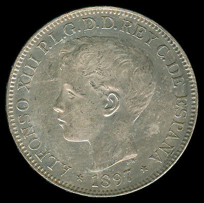 1897 Alfonso XIII UN Peso Spain / Spanish Philippines Silver Coin Km#154 - D
