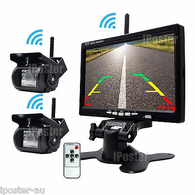 "Wireless 7"" LCD Monitor 2x Wireless CCD Reversing Camera + 2x Antenna For Truck"