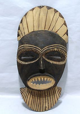 Hand Carved Tribal Mask With Baring Teeth - Light Weight Wood