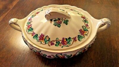 J & G Meakin Covered Casserole Floral,Vine,Yellow,Red,Grapes Gold Trim