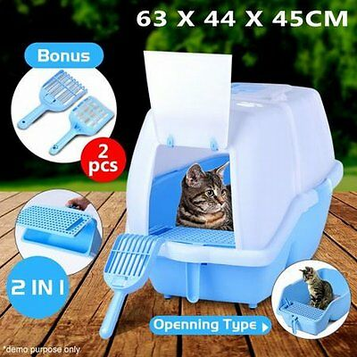 NEW 2 in 1 Roomy Interior Pet Cat Large Hooded Litter Box Tray with Flap Door