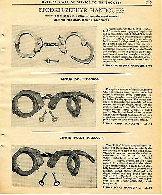 1965 Print Ad of Stoeger-Zephyr Handcuffs Double-Lock Chief & Police Model