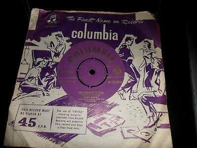 Tony Brent Two Innocent Hearts/cindy Oh Cindy Columbia Gold Label 45 Rpm Single