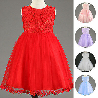 Lace Flower Girl Kid Baby Dress Wedding Baptism Tutu Gown For Birthday Party New