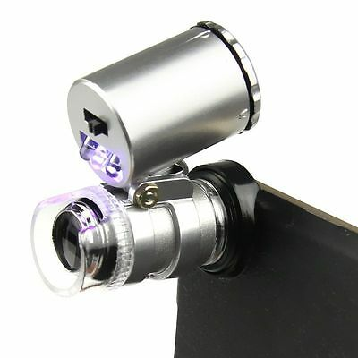 60X Zoom Cell Phone Loupe Microscope Lens LED Magnifier Micro Camera For iPhone#
