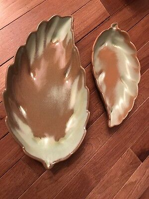 Frankoma Pottery Prairie Green Oval Leaf Candy Dishes Relish Bowls  225 & 226