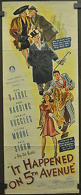 IT HAPPENED ON FIFTH AVENUE 1947 ORIG MOVIE POSTER 14X36 DON DeFORE ANN HARDING