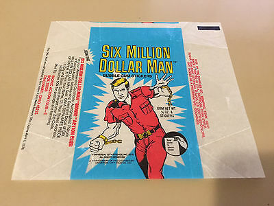Six Million Dollar Man - 1x Wax Pack Card Wrapper - Donruss 1975 - NO TEARS !!!