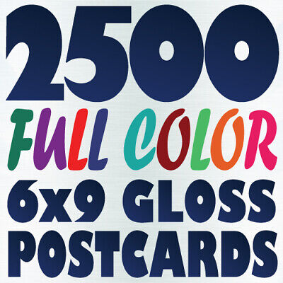 2500 6x9 Full Color Custom Postcard Printing on 16pt UV Gloss or Matte