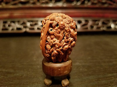 Very Beautiful and Detailed Chinese Hand Carved Walnut Shell of 17 Kids.