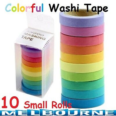 10x Decorative Roll Washi Tape Sticky Paper Masking Adhesive Crafts Colorful DIY
