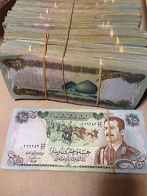 IRAQ 25 Dinars 1986 ( Saddam Hussein ) BANK NOTE 2 BUNDLE - 200 NOTES