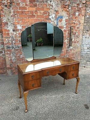 Mid-Century Queen Anne's Style Walnut Kneehole Dressing Table With Triple Mirror