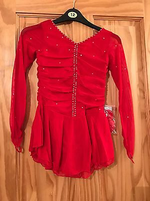 Brand New Red Ice Skating Dress / Baton Twirling Costume Age 7-10 Years