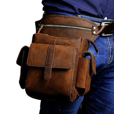 Mens Vintage Leather Motorcycle Rider Drop Leg Bag Thigh Waist Hip Fanny Pack
