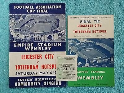 1961 - FA CUP FINAL PROGRAMME + SONGSHEET + TICKET - LEICESTER CITY v TOTTENHAM