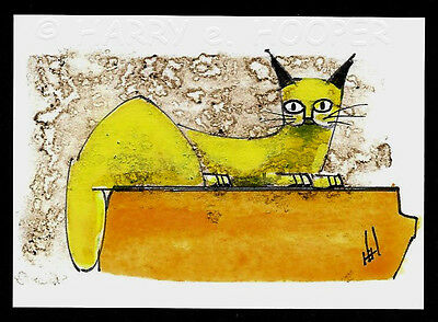 "hand painted  ACEO art card * Harry e Hooper ""Sam 4"" stylized yellow cat"