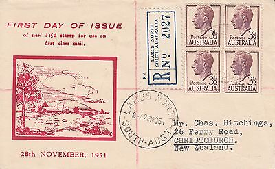 H 2163 Haslem  Nov. 1951 reg. FDC; block of 4 with Gower (Wesley Largs North cds