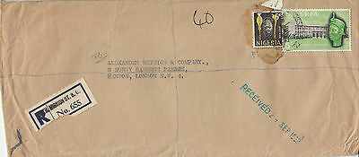H 328 Nigeria Catholic Mission Street ds  Registered cover to UK; 5/6d rate