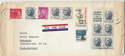 J 1306 USA 1963/4? airmail cover to Germany with booklet pane  washington stamps