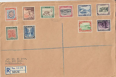 J 1037 Niue July Registered 1950 First Day Cover all 10 stamps!