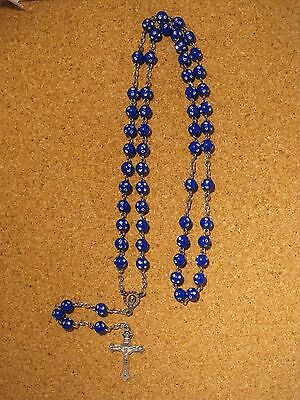 blue rosary with silver mirror like beads